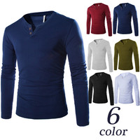 Slim Fit Solid Color Men's Henley Tee