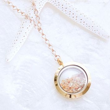 Sands of Time Fillable Keepsake Shake Necklace with Floating Memory Locket