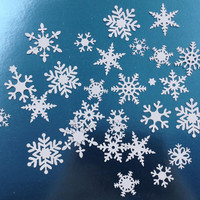 25 white snow flakes, 9 different styles, card stock, table decoration, hand crafted die cuts, embellishments, winter wedding decoration