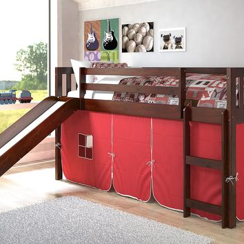 Lucas Low Loft Bed with Slide & Red Tent