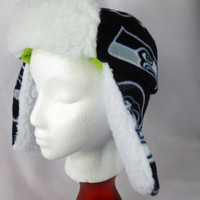 Seattle Seahawks Fleece trapper hat with Sherpa lining and Velcro tabs to hold up flaps and bill in place