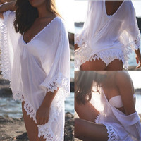 Sexy Ladies Bikini Cover Up Sheer Lace Hollow Hem Bathing Suit Beach Dress Smock