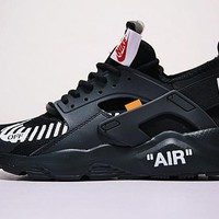 "Virgil Abloh OFF WHITE x Nike Air Huarache Ultra 4 Retro Running Shoes ""OW Black&White""AA3841-001"