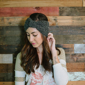 Bow headband, turban headband, head wrap, fall, winter, autumn, gray, dark gray, ear warmer, earwarmer