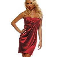 Womens Cocktail Satin Strapless Pleated Solid Color Ruching Mini Party Dress