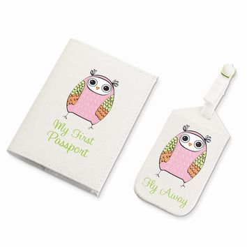 Pink Owl Luggage Tag & Passport Cover
