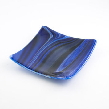 Fused Glass Plate, Decorative Dish, Pillar Candle Holder, Cobalt Blue Swirl, Modern Home Decor, Square Plate, Unique Gifts for Men