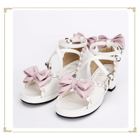 Sweet White with Pink Bows Lolita Sandals
