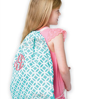 Monogrammed Aqua Sadie Geometric Gym Bag with Drawstring Backpack School Bookbag