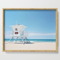 Lifeguard tower Carlsbad 35 Serving Tray by sylviacookphotography
