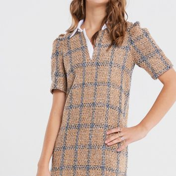 Tina Shirt Collar Tweed Dress Discover the latest fashion trends online at storets.com