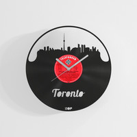 Toronto wall clock from upcycled vinyl record (LP) | Hand-made gift for Toronto lover | Toronto home wall decoration, gift, present