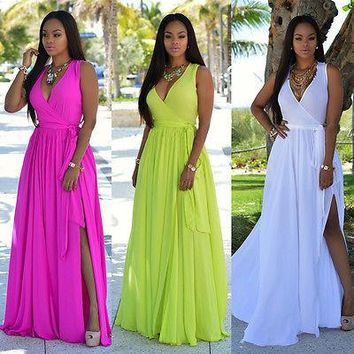 2016 New Women Sexy Summer Dress Boho Maxi Long Evening Party Dress Beach Dress Sundress