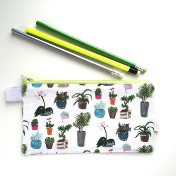House Plants Divided Pencil Case (handmade philosophy's pattern)