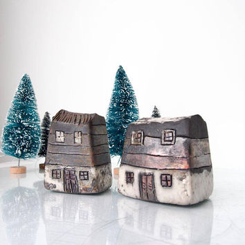 Art Raku fired Ceramic houses Handmade Unique Ceramics  Architectural Home decor, raku pottery, Brown, black, gray and white