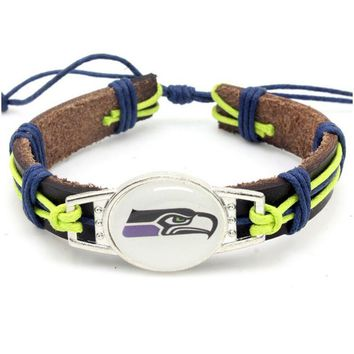 New Fashion Seattle Seahawks Football Team Leather Bracelet Adjustable Leather Cuff Bracelet For Men and Women Fans 10PCS