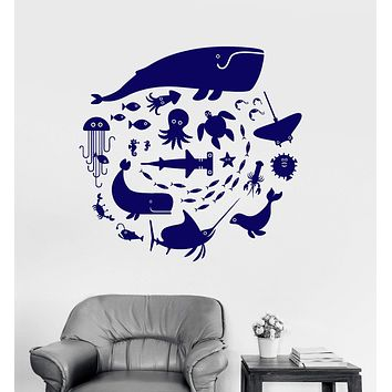 Vinyl Wall Decal Whale Octopus Fish Marine Animals Bathroom Stickers Mural Unique Gift (ig3008)
