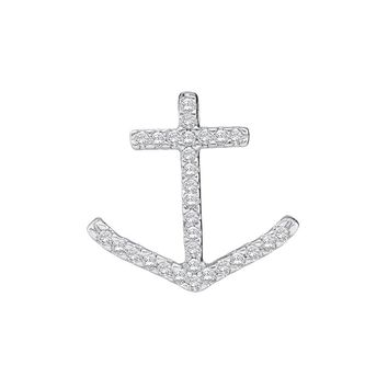 10k White Gold Round Pave-set Diamond Womens Nautical Anchor Pendant 1/4 Cttw