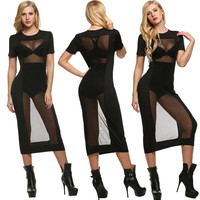 Women Sexy Casual Short Sleeve Summer Cocktail Party Evening Mesh Mini Dress