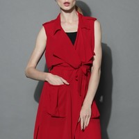 My Chic Waterfall Duster in Red