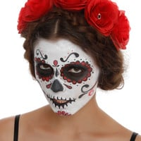 Red Rose And Skull Stretch Headband