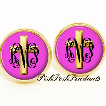 Cross Monogram Earrings, Monogram Jewelry, Bridesmaid Gift, Easter Monogram Earrings, Personalized Earrings - Style 567