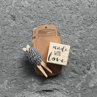 "DIY -16 Kraft Marson Jar Gift Tags with 7 yards of Black and white bakers twine, and a ""Made with love"" wooden rubber stamp. craft supplies"
