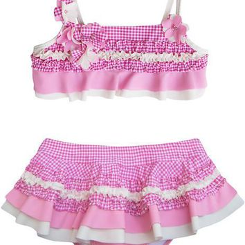 Isobella & Chloe Pink Gingham Two Piece Swimsuit