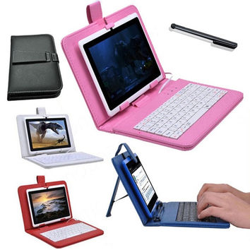 "Multi-Color PU Leather USB keyboard Stand Case Cover for 7"" inch Tablet PC Notebook + Stylus Pen = 1931981124"