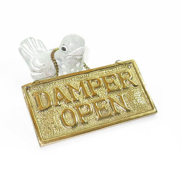 Brass Fireplace Damper Plaque Sign