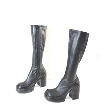 tall black PLATFORM boots stretch shaft 90 boots knee high CLUB platforms 90s vegan leather platforms