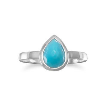 Sterling Silver Pear Shape Freeform Faceted Turquoise Stackable Ring