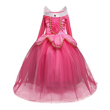 Princess Sleeping Beauty Aurora Girl Dress Kids Cosplay Dress Up Halloween Costumes For Kids Girls Tulle Party Dress 4-10 Years
