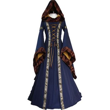 2018 Women Costume Medieval Maiden Fancy Cosplay Over Dress Halloween Costumes For Women Victorian Dress Costume