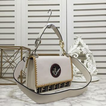 Fendi Cream Sequin Embellished Black Calf Trim Shoulder Bag