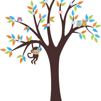 "Hanging Monkey Decal, Wildlife Nursery Decal, Forest Wall Decals, Woodland Wall Decals, Forest Nursery Decor, Nature Wall Decals - 82"" x 65"""