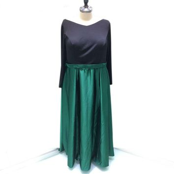 Green and Black Satin Evening Dress Cheap Simple Style Prom Dress V-neck Long Sleeve Women Party Dress