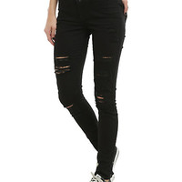 Blackheart Black Destructed Super Skinny Jeans