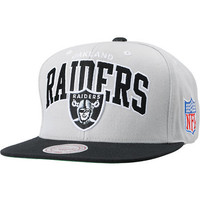 NFL Mitchell and Ness Raiders Grey Arch Logo Snapback Hat at Zumiez : PDP