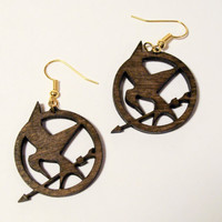 Hunger Games Earrings MockingJay Lasercut by ProjectResolution