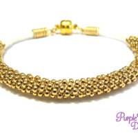 MAGNOLIA Beaded Kumihimo Bracelet, Braided Cotton Bracelet with 24K Gold plated Seed Beads - White/Gold