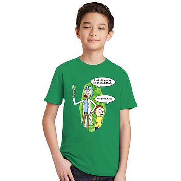 Green Black 2colors Rick Morty Kids t shirt Anime Boy Girl T-shirts Peace among worlds letter print Cartoon tee tshirt Children