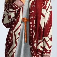 sirenlondon — Aztec Drape Red Cardigan