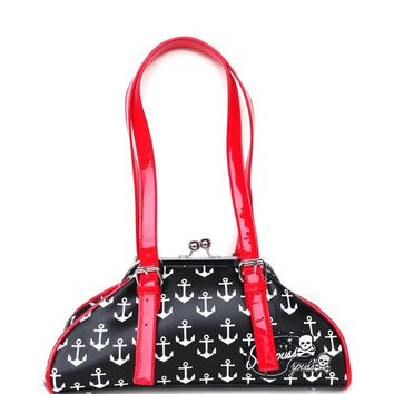 Sourpuss – Galley Ho Anchor Print Purse In Black PU/White/Red | Thirteen Vintage