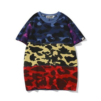 Print Patchwork Camouflage Men Casual Round-neck Short Sleeve T-shirts [1918874189921]