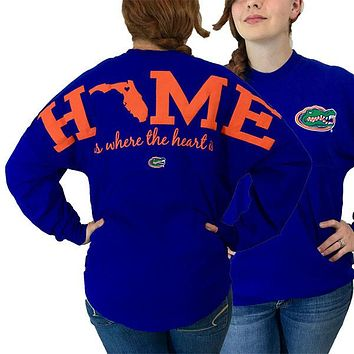 Florida Gators Women's Logo Spirit Jersey Long Sleeve Oversized Top Shirt