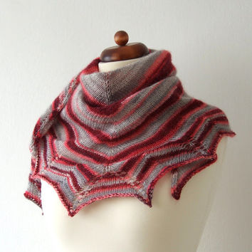 triangle scarf handknit grey red mohair