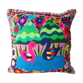 Hand Embroidered Love Birds Throw Pillow
