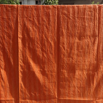 Indian Cotton Bedspread, Ikat Kantha Quilt, Handmade Printed Bed Cover, Reversible Kantha Throw, Twin Size, Orange Color, Bohemian