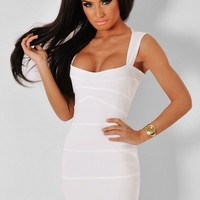 Marachino White Bandage Cut Out Mini Dress | Pink Boutique